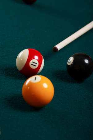 poolball: Billiard game details: balls, cue, table.