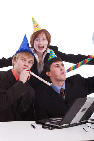 Group of business people celebrating smth in office. Shot in studio. photo
