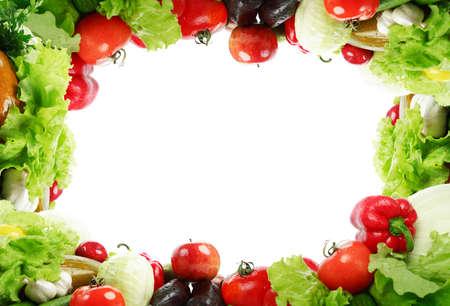 Frame: fresh Vegetables, Fruits and other foodstuffs. Shot in a studio.