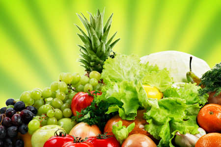 Fresh Vegetables, Fruits and other foodstuffs. Shot in a studio. Stock Photo - 2645717