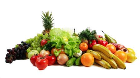 Verduras y hortalizas frescas, frutas y otros productos alimenticios. Filmada en un estudio. Foto de archivo