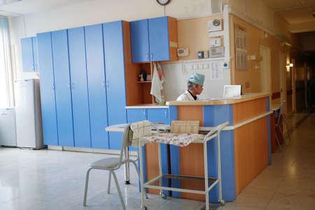 nurses station: Doctors are working - medicine  background. Shot in a hospital.