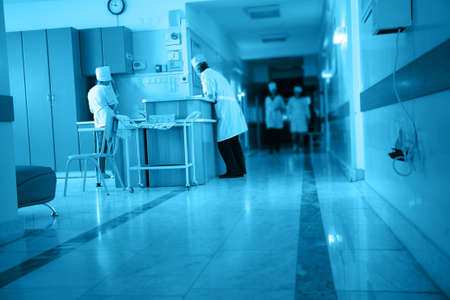 nurse station: Doctors are working - medicine  background. Shot in a hospital.