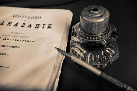 decrepitude: Style art background. Vintage things: books, candles and other.