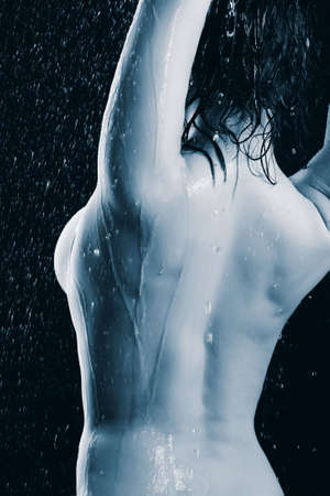 nude wet: Portrait of a styled professional model. Theme: spa, healthcare.