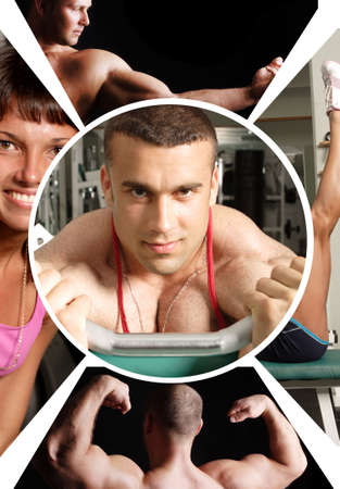 The champion in a fitness center- collage Stock Photo - 3024267