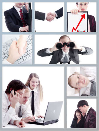 Group of business people working together in the office. Image-grid of business photos. Stock Photo - 3022993