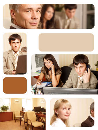 technology deal: Group of business people working together in the office. Image-grid of business photos.