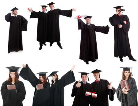 speculating: Portrait of a young people in a academic gown. Education background.