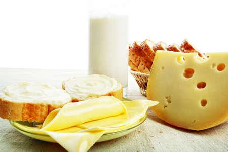 aliments: Produits laitiers denr�es alimentaires. Tourn� dans un studio.  Banque d'images