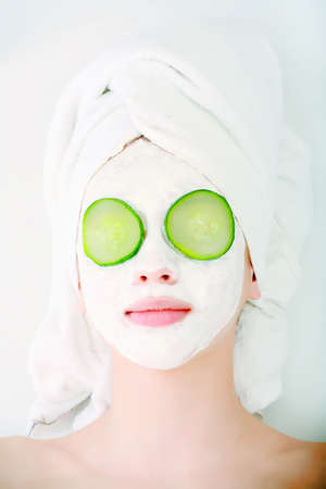 masks: Portrait of a styled professional model. Theme: spa, healthcare, fashion Stock Photo