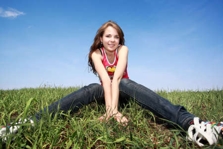 Beautiful girl smile and resting outdoors photo