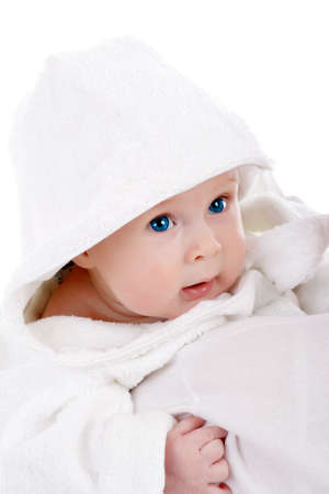 admire: Beautiful baby. Shot in studio. Isolated on white. Stock Photo