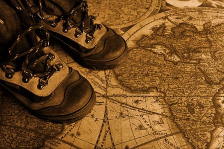 Old fashioned objects on the vintage map Stock Photo - 3309859