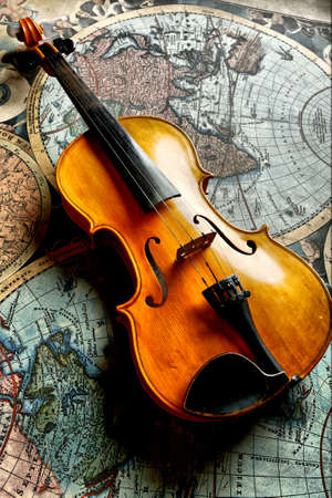 music book: Musical background � instruments. Shot in studio.  Stock Photo