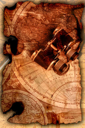 Old fashioned objects on the vintage map Stock Photo - 3440107