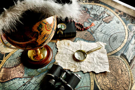 Old fashioned objects on the vintage map Stock Photo - 3440080