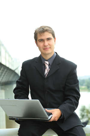 Business background: handsome businessman in a work process. Stock Photo - 3436161