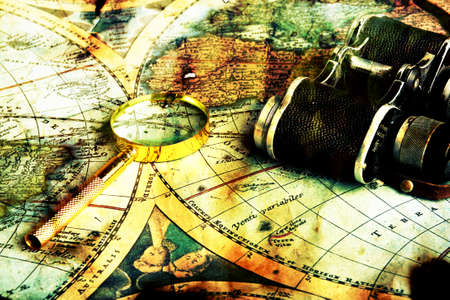 Old fashioned objects on the vintage map Stock Photo - 3440083