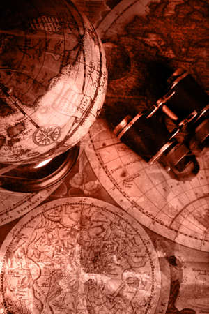 Old fashioned objects on the vintage map Stock Photo - 3440046