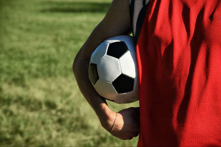 Sport background: close up of a soccer ball photo