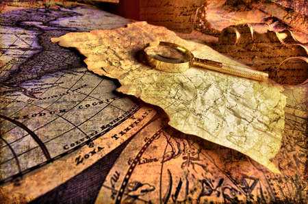 gold age: Old fashioned objects on the vintage map Stock Photo