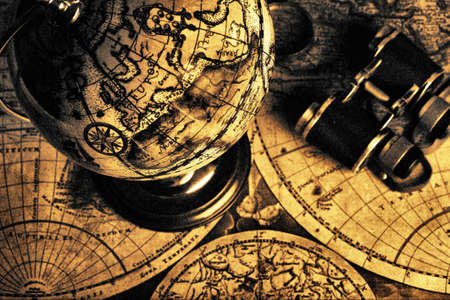 Old fashioned objects on the vintage map Stock Photo - 3582554