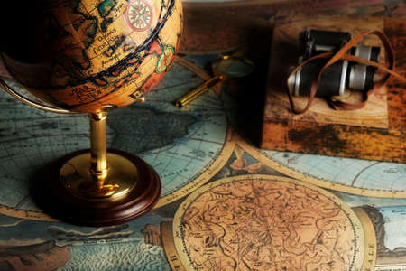 rovers: Old fashioned objects on the vintage map Stock Photo