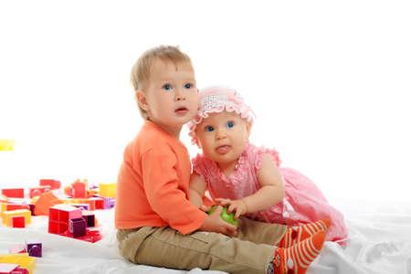 fond of children: Beautiful baby. Shot in an interior.  Stock Photo