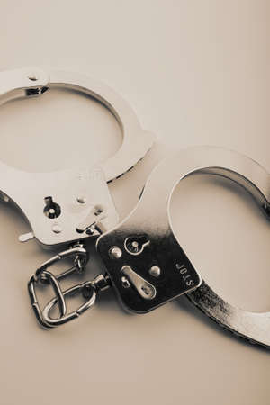 Vintage silver handcuff brown tone Stock Photo - 3582212