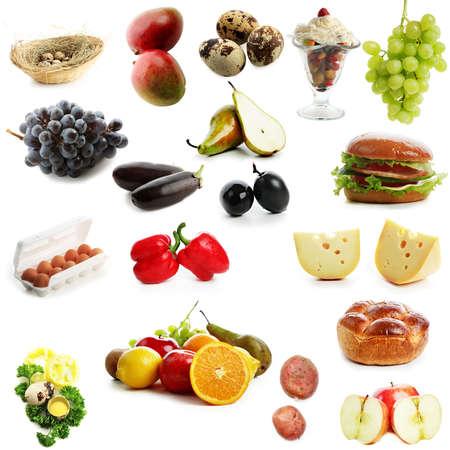 huevos de codorniz: Alta calidad de la recogida de frutas y verduras en el fondo blanco