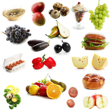 High quality collection of fruits and vegetables on white background photo