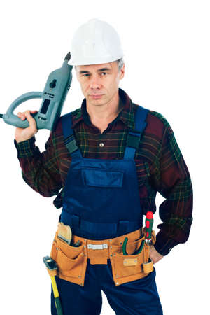 Muscular professional man in a builder uniform with tools. Stock Photo - 3640869