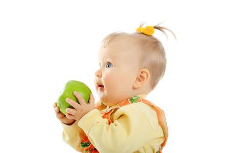 ittle: Beautiful baby. Shot in studio. Isolated on white. Stock Photo