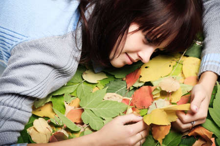 Portrait of a styled professional model. Theme: autumn, education Stock Photo - 3681118