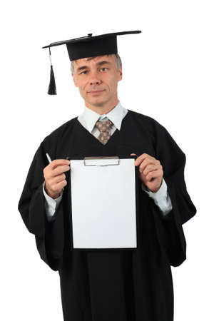 Education background: serious man in a academic gown. photo