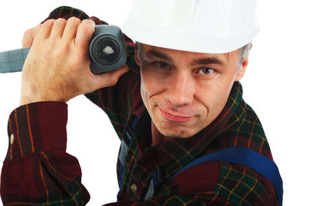 Muscular professional man in a builder uniform with tools. Stock Photo - 3832291