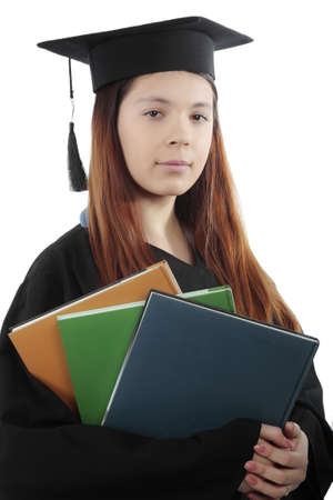 Portrait of a young peoplein a academic gown. Education background. photo