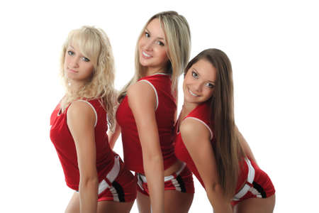 Portrait of a styled professional cheerleader. Stock Photo