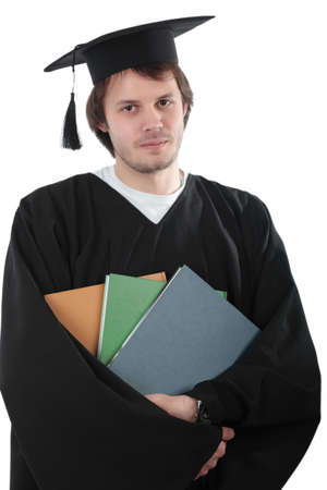 Portrait of a young people in a academic gown. Education background. photo