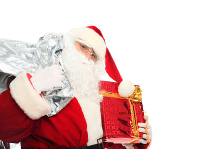 Xmas  background: Santa Claus, gifts, photo