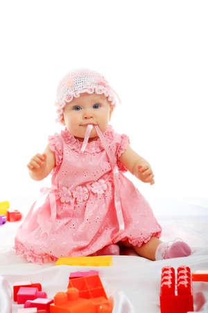 Beautiful baby. Shot in studio. Isolated on white. Stock Photo - 3910387