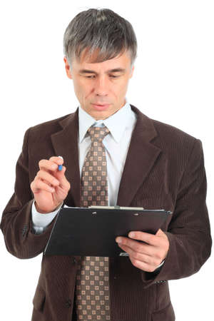 Business background: handsome businessman in a work process. photo