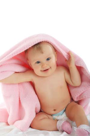 Beautiful baby. Shot in studio. Isolated on white. photo