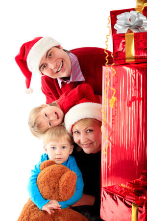 Xmas  background: family and children Stock Photo - 3965911