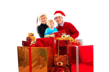 Xmas  background: family and children photo