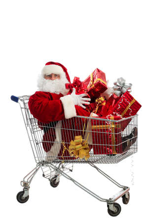 Xmas  background: Santa Claus, gifts, Stock Photo