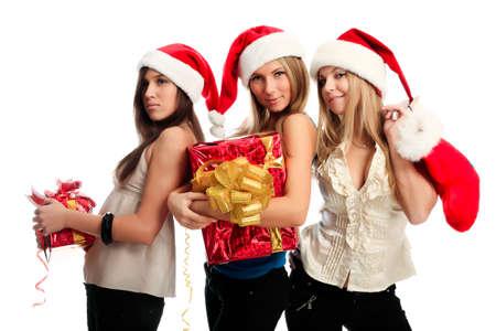 Xmas  background: girlfriends in santa cap photo