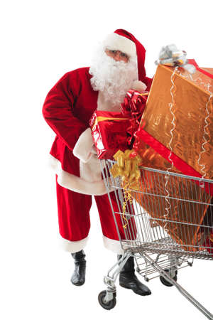 superstore: Xmas  background: Santa Claus, gifts, Stock Photo