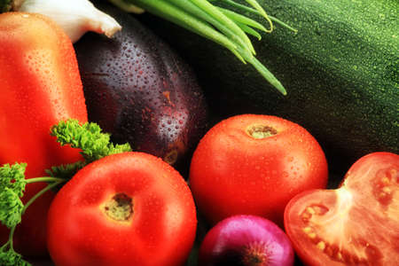 Fresh Vegetables, Fruits and other foodstuffs. Shot in a studio. Stock Photo - 3986898